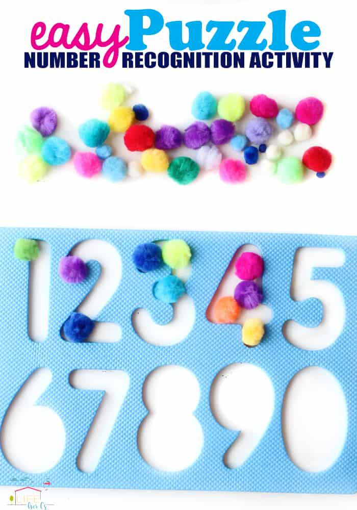 A fun number recognition activity for preschoolers using a puzzle frame and pom poms!