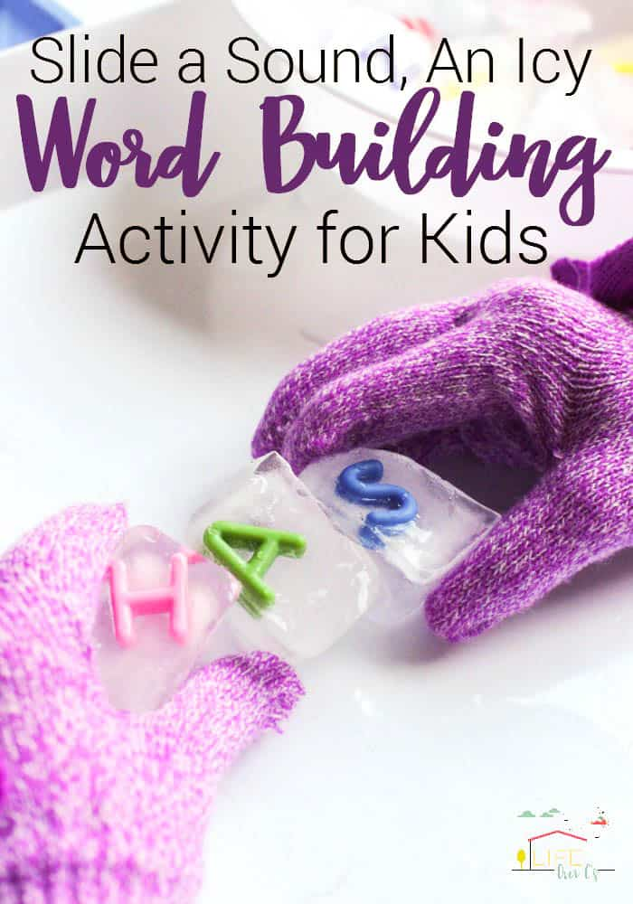 Slide a sound, an ice word building activity for kids. Learn to read, hands-on sensory reading activities for kindergarten