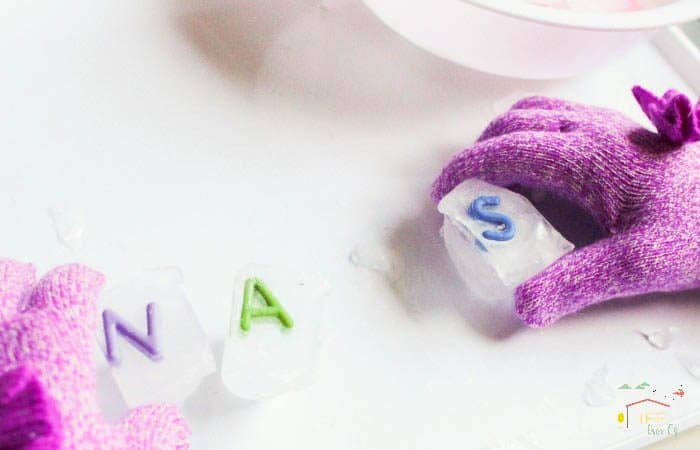 Making a nonsense word - slippery Ice word building activity for kids