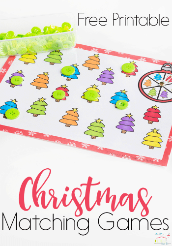 Low-prep Christmas Tree Matching Activities for preschoolers- Great activities to work on color recognition and matching in December.