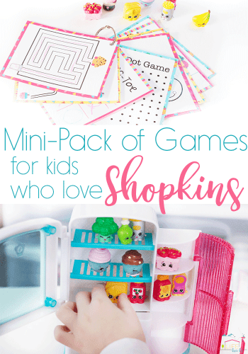 Mini-pack of games for kids who love Shopkins! These grocery cuties are perfect for traveling with kids.