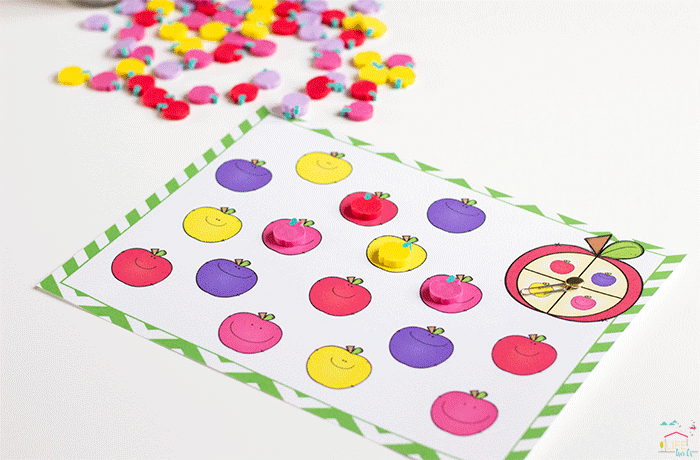 Spin & Cover the matching colored apples with the mini erasers.