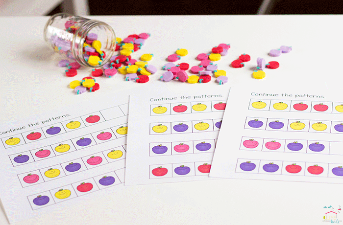 Practice patterns with apple mini erasers and these fun free printables.