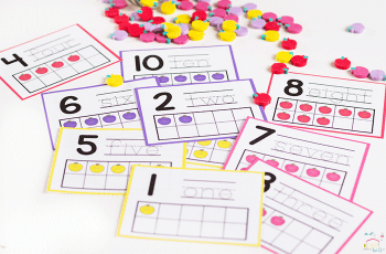 Number counting cards that are great for using mini-erasers!