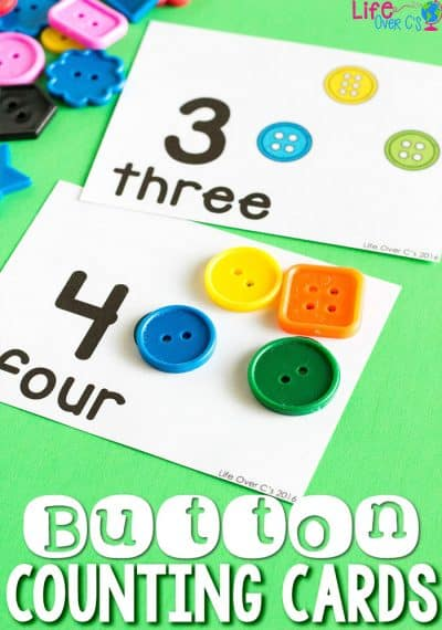 Grab Pete the Cat and His Groovy Buttons and these fun button counting cards for a fun math activity for preschoolers.With picture-supported one-to-one correspondence, kids will love counting along with one of their favorite books!