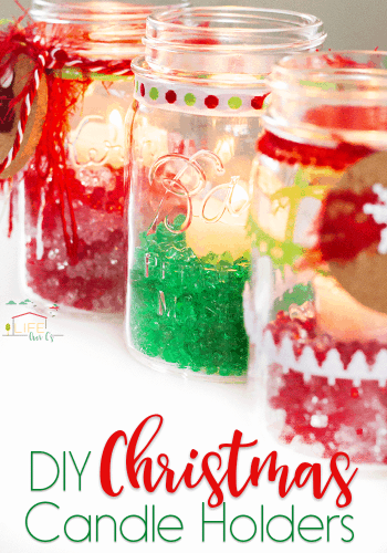 These fun DIY Christmas Mason Jar Candle Holders are so easy to put together and you'll look like a crafting genius! The perfect last minute Christmas decoration!