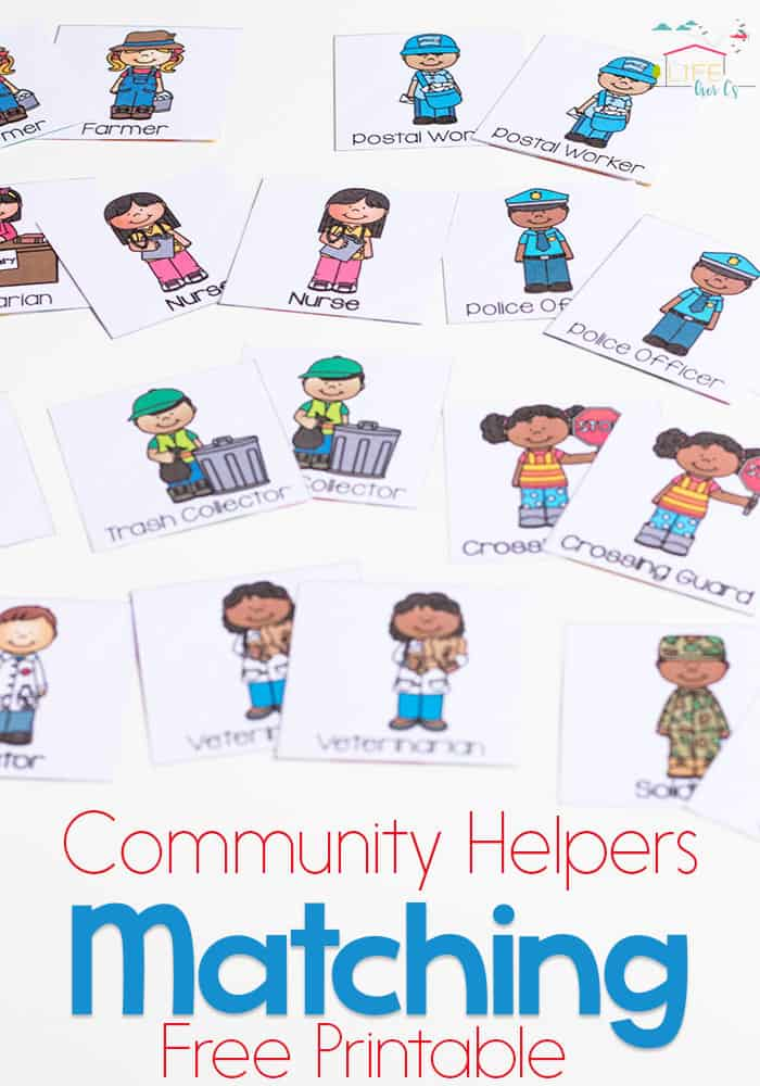 This free printable community helpers matching game is a great way to introduce preschoolers to the members of their community. Teaching kids who the helpers are is so important!