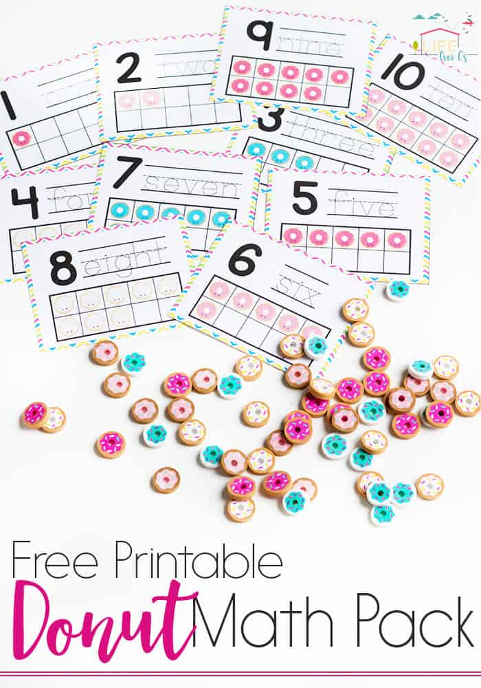Do you love Dollar Spot mini erasers? This donut mini-eraser activity pack for preschoolers is full of great math activities! Counting, sorting, matching, patterns and more!