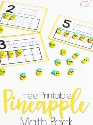 Pineapple Mini Eraser Math Activities for Preschoolers