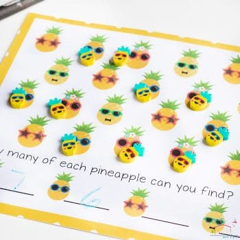 Do you love Dollar Spot mini erasers? This pineapple mini eraser activity pack for preschoolers is full of great math activities! Counting, sorting, matching, patterns and more!