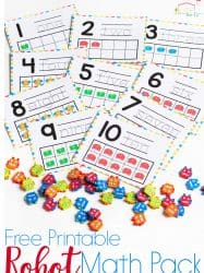 Robot Mini Eraser Math Activities for Preschoolers