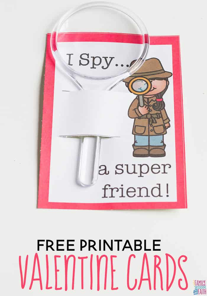 These Free Printable Detective I Spy Valentine Cards are so cute! Pair them with a tiny magnifying glass for the perfect Valentine's Day Card for kids!