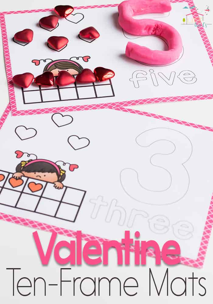 Valentine Ten-Frame Number Mats for 1-10