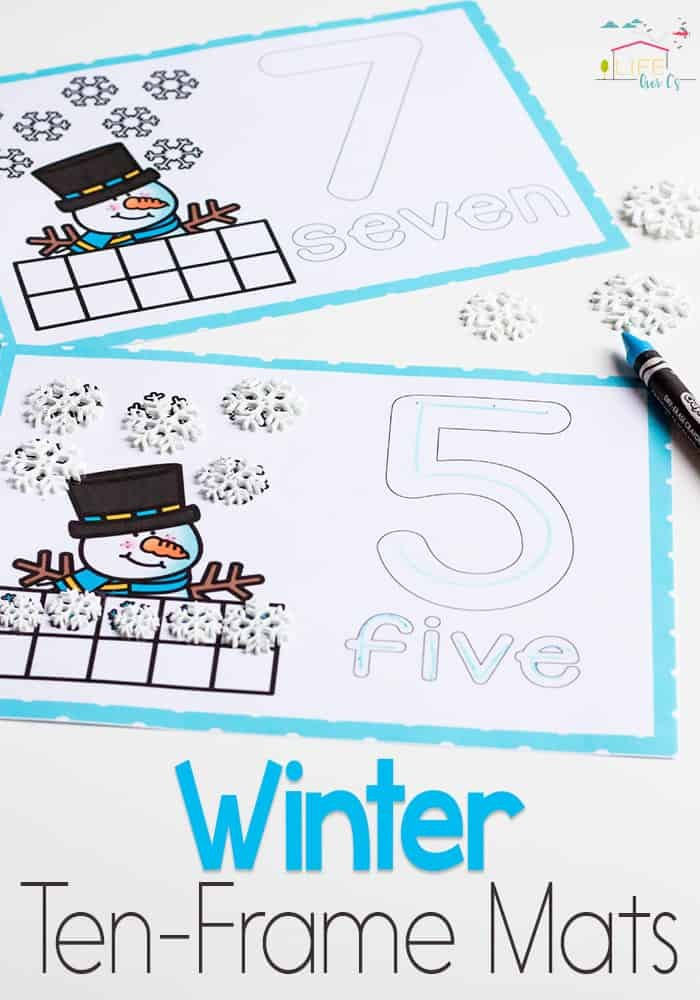 Snowman ten-frame number mats for winter! Practice counting to 10 with these differentiated ten-frame mats.