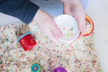 Make a preschool sensory bin with a fun literacy component! This Alphabet sensory bin is perfect for learning and fun!