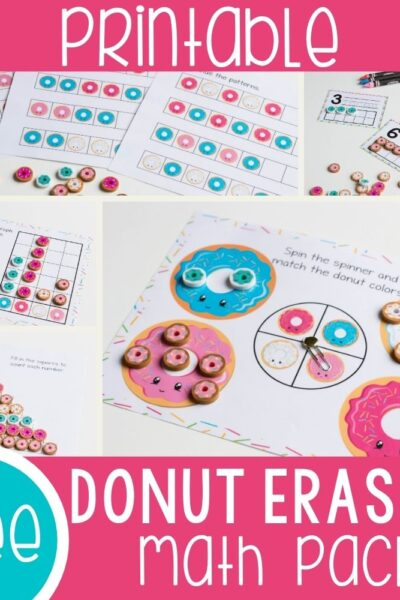 math activities for donut mini erasers from the Target Bullseye playground. Patterns, counting, sorting, matching activities for kindergarten and preschool math activities