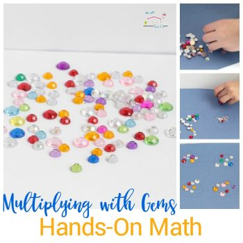If your kids are struggling with multiplication, make it fun with this hands-on gem multiplication game that helps kids learn about grouping.