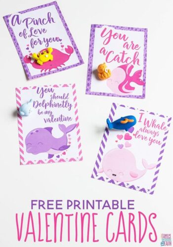Ocean animal Valentine Cards for kids paired with ocean animal mini erasers.