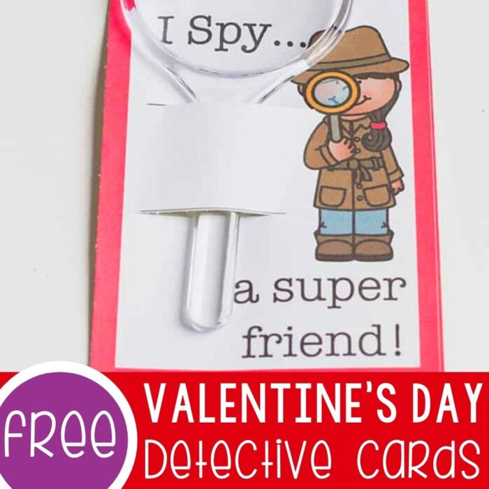 Free printable Valentines Detective Cards for kids
