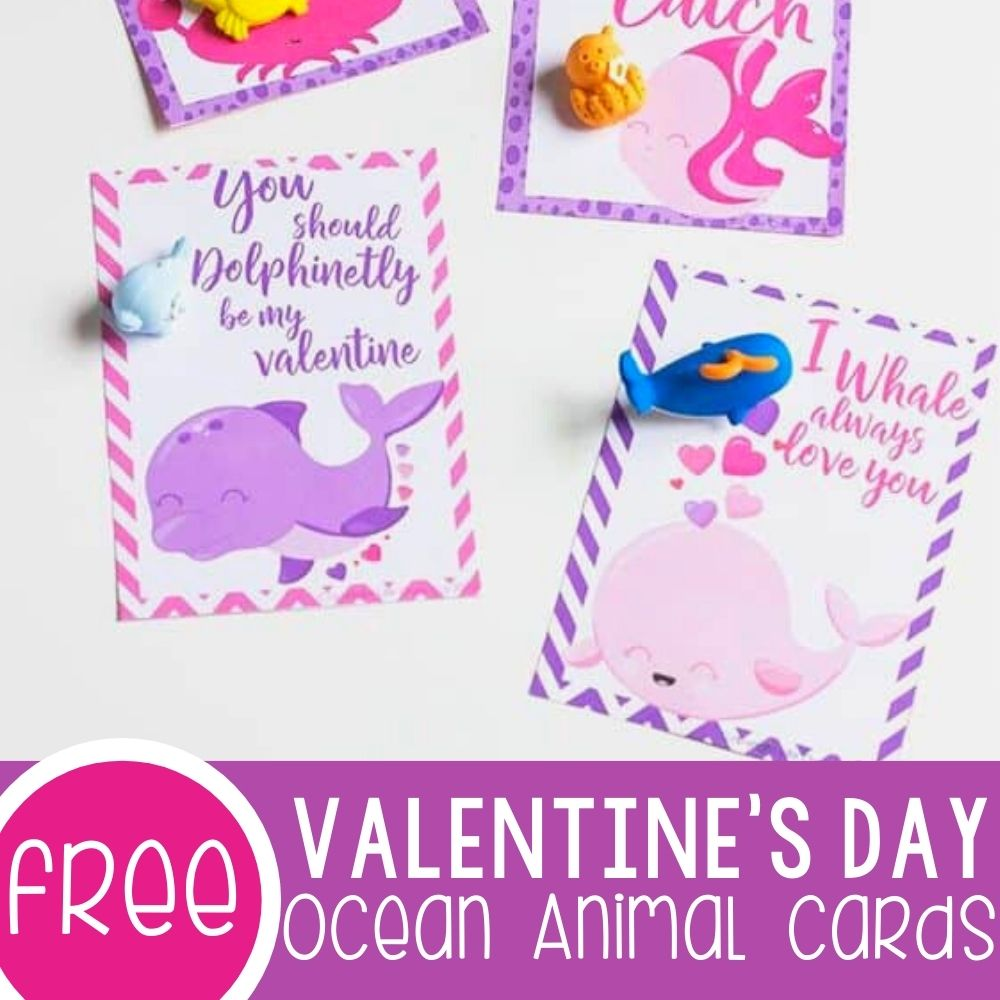 Ocean Animal Valentine's Day free printable cards for kids
