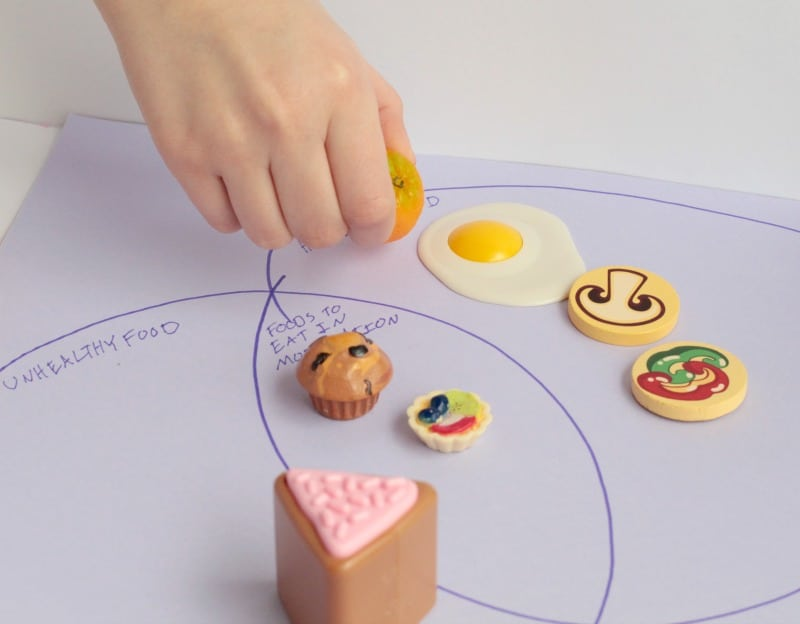 Help preschoolers learn about nutrition with this simple Venn diagram food groups activity! Preschoolers will love using play food to learn about health.