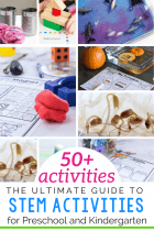 50+ Easy STEM activities for preschoolers and kindergarteners.