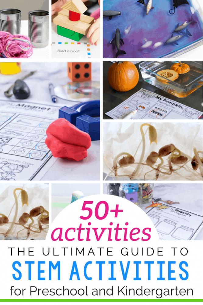 50+ Easy STEM activities for preschoolers and kindergarteners.