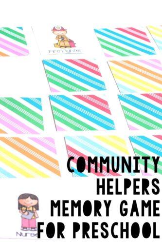 Community Helpers Memory Game for Preschool Pinterest Image