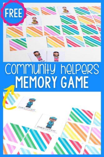 Free Community Helpers Memory Game for Preschoolers