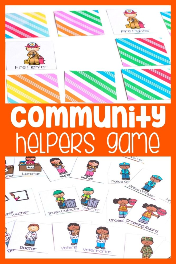 Community Helpers Matching Game for Preschoolers Pinterest Image