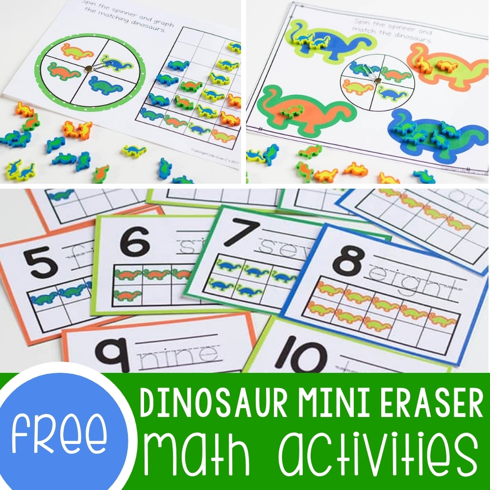 Dinosaur Mini Eraser Math Activity Pack for Preschoolers