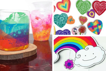 rainbow candle holders for preschoolers, rainbow magnet craft for kids, rainbow mobile