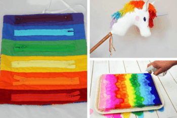 toddler rainbow zipper toy, tissue paper craft for kids, unicorn craft for kids