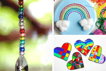 Rainbow pony bead suncatcher craft for kids, tissue paper rainbow art for kids, paper plate rainbow sewing project for kids