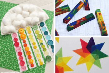 Paper plate Rainbow craft for preschoolers, rainbow star craft, melted crayons rainbow project for kids