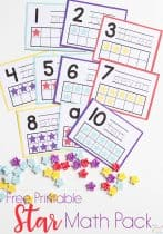 Do you love Dollar Spot mini erasers? This star mini eraser activity pack for preschoolers is full of great math activities! Counting, sorting, matching, patterns and more!