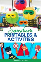 superhero printables and activities for dramatic play and decorations.