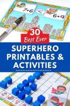 30 best ever superhero printables & activities for kindergarten and preschool. Images show superhero addition activity and superhero graphing