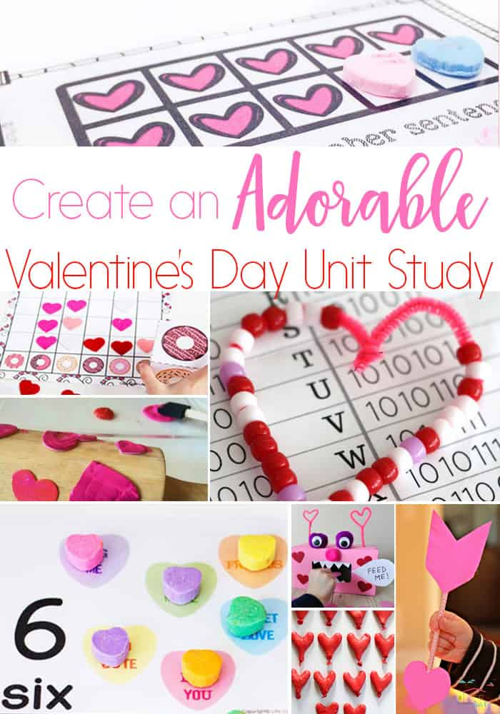 Create a fun Valentine unit study for your kids! Perfect for preschool, kindergarten and elementary Valentine themes!