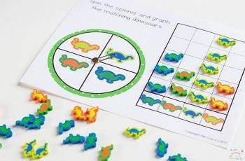 Do you love Dollar Spot mini erasers? This dinosaur mini eraser activity pack for preschoolers is full of great math activities! Counting, sorting, matching, patterns and more!