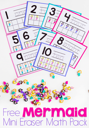 Preschool math is fun with this free printable mermaid mini eraser math activity pack. Patterns, ten-frames, sorting and more!