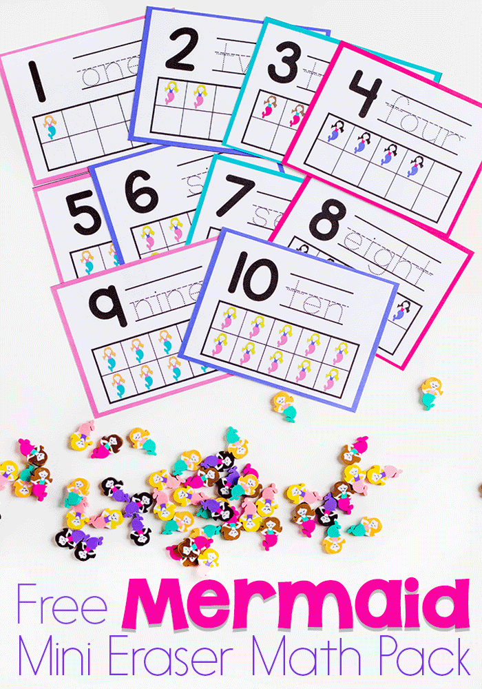 Mermaid Mini Eraser Math Activity Pack for Preschoolers