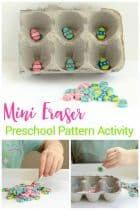 Do you have mini erasers lying around? They are collectible and also educational! This mini eraser pattern activity is fun for preschoolers!