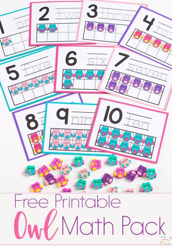 Do you love Dollar Spot mini erasers? This owl mini eraser activity pack for preschoolers is full of great math activities! Counting, sorting, matching, patterns and more!