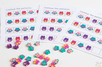 Build patterns with mini erasers for a fun math activity!