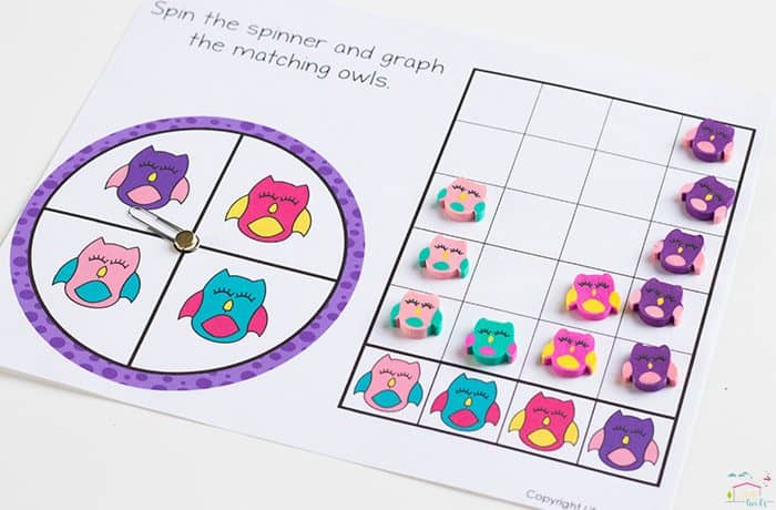 Kids will love working on math skills with these owl mini erasers! Practice counting and graphing with this free printable!