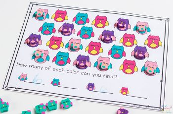 Kids will love working on math skills with these owl mini erasers! Practice counting and matching with this fun printable!