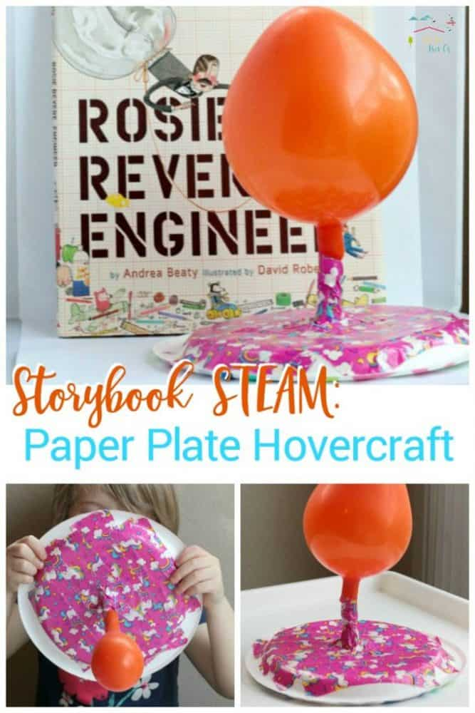 Your kids can become engineers like Rosie Revere with this paper plate hovercraft project inspired by the book Rosie Revere Engineer!