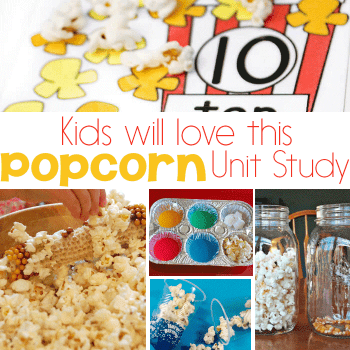 Harness your kids' love for popcorn with a fun popcorn unit study! Popcorn themed activities for science, math, STEM, literacy, art and much more!!