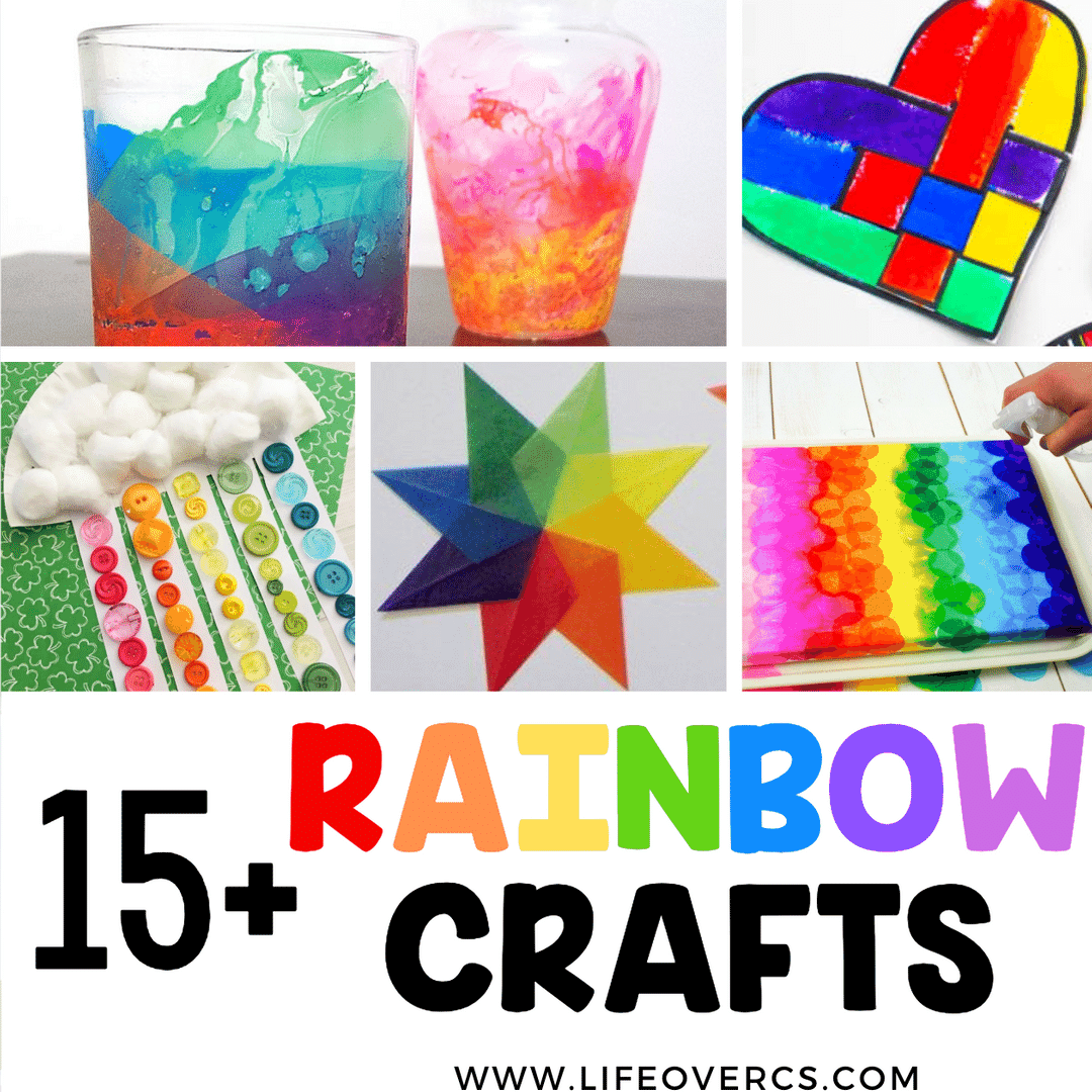15+ rainbow crafts for kids: rainbow candle holder, rainbow danish hearts, rainbow paper plate sorting activity for kids
